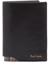 Paul Smith シグネチャーストライプ レザーバイフォールドウォレット - ブラック