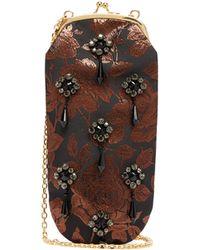 Erdem Crystal And Beaded Rose-brocade Cross-body Bag - Black