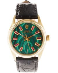 Jacquie Aiche Vintage Rolex Oyster Ruby & Gold-plated Watch - Green
