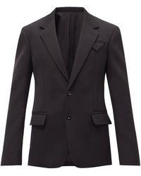 Bottega Veneta ウールグレインドプードル シングルジャケット - ブラック