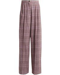 Natasha Zinko Pantalon taille haute en laine mélangée tartan - Gris