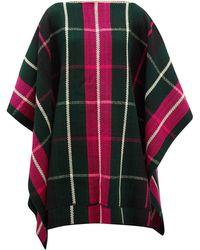 Colville Windowpane-check Wool Poncho - Black
