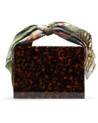 Montunas Guaria Mini Orchid-print Silk Handle Box Bag - Brown
