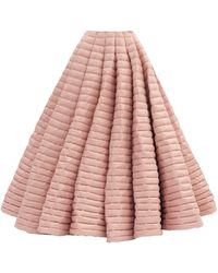 1 MONCLER PIERPAOLO PICCIOLI Pleated Lacquered Down-filled Maxi Skirt - Pink