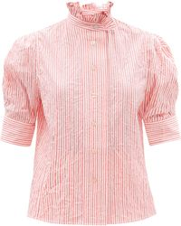 Thierry Colson Vita Gigot-sleeve Crinkle Stripe Cotton Blouse - Pink