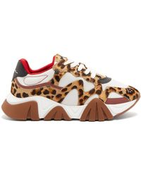 Versace New Squalo Leopard-print Calf-hair Sneakers - Multicolour