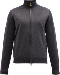 Dunhill パネル ジップアップ メリノウールセーター - ブラック
