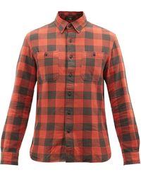 RRL ファレル チェック ブラッシュドコットンシャツ - レッド