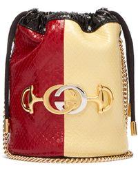 Gucci - Sac seau bandoulière en elaphe colour-block Zumi - Lyst