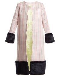 Shrimps - - Andrea Contrast Panel Checked Cotton Coat - Womens - Pink Multi - Lyst
