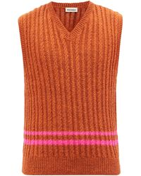 Molly Goddard Ralph Cable-knit Wool Sweater Vest - Orange