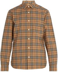 Burberry - House Check Cotton Shirt - Lyst