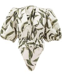 Adriana Degreas Belted Floral-print Cotton-jersey Bodysuit - Green