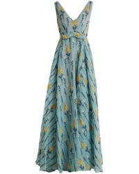 Luisa Beccaria | Floral-embossed Silk-blend Gown | Lyst