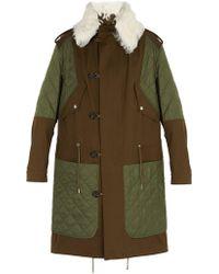 Alexander McQueen Shearling Collar Padded Parka - Green