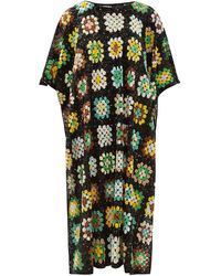 Ashish Sequinned Crochet-effect Poncho - Green