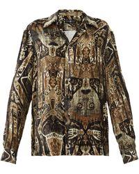 Edward Crutchley Raja-print Cuban-collar Velvet Shirt - Brown