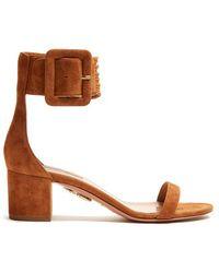 Aquazzura - Casablanca Block-heel Suede Sandals - Lyst