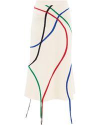 Loewe リボンインターシャ ウールスカート - マルチカラー