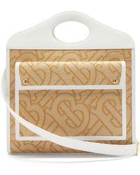 Burberry Pocket Large Tb-woven Raffia Handbag - Natural