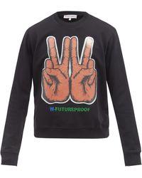Walter Van Beirendonck W Peace-print Cotton-jersey Sweatshirt - Black