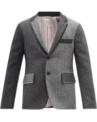 Thom Browne ツートーン ウール シングルジャケット - グレー