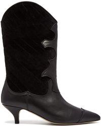 Ganni Heeled Texan Boots - Black