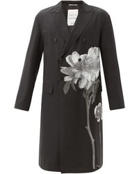 Valentino Garavani Flowersity Double-breasted Wool-blend Twill Coat - Black