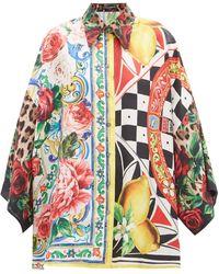 Dolce & Gabbana - パッチワーク フローラル シルクブラウス - Lyst
