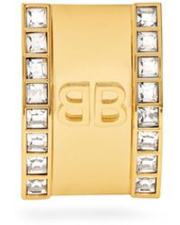 Balenciaga | Logo Licence Crystal Earring | Lyst