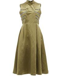 Noir Kei Ninomiya Eyelet-embellished Open-back Satin Midi Dress - Green