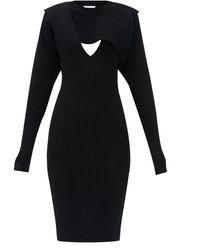 Bottega Veneta カットアウト リブニットドレス - ブラック