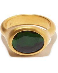 Eli Halili Green Tourmaline & 22kt Gold Ring - Metallic