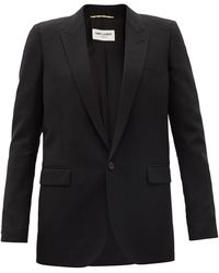 Saint Laurent ウールギャバジン シングルジャケット - ブラック
