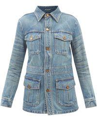 Saint Laurent Veste en denim à poches plaquées - Bleu