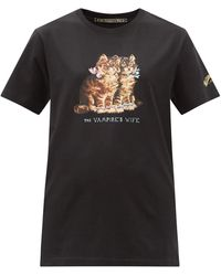 The Vampire's Wife Cat-print Cotton-jersey T-shirt - Black