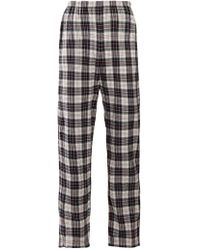 Balenciaga - Checked High-rise Brushed Cotton Trousers - Lyst