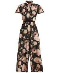 Erdem - Ellamay Dutch Petal-print Silk Jumpsuit - Lyst