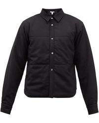 Comme des Garçons Comme Des Garçons Shirt クロップド ウールギャバジン オーバーシャツ - ブラック