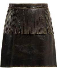 Miu Miu - Fringe-trimmed Leather Mini Skirt - Lyst