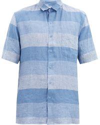 Sunspel ショートスリーブ チェックリネンシャツ - ブルー