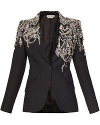 Alexander McQueen Blazer en crêpe à boutonnage simple et cristaux - Noir