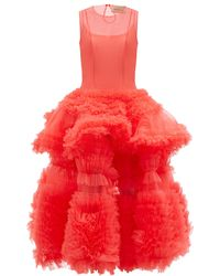 Molly Goddard Yetunde Tiered Tulle Midi Dress - Pink