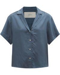 Asceno プラハ ショートスリーブ シルクツイルシャツ - ブルー