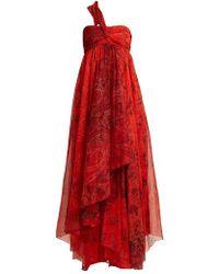 Etro - - Chennai One Shoulder Paisley Print Silk Dress - Womens - Red Print - Lyst