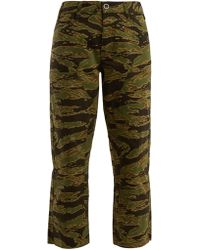 M.i.h Jeans - Phoebe Camouflage Print Cotton Cropped Trousers - Lyst