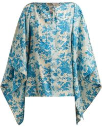 By Walid - Camilla Floral Print Silk Blouse - Lyst