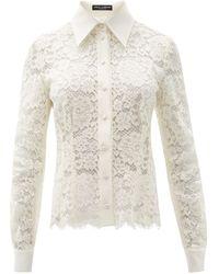 Dolce & Gabbana Scalloped-hem Floral-lace Shirt - White