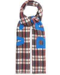Balenciaga ロゴプリント チェック ウールスカーフ - ブルー