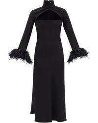 16Arlington Odessa Cutout Feather-trim Crepe Dress - Black